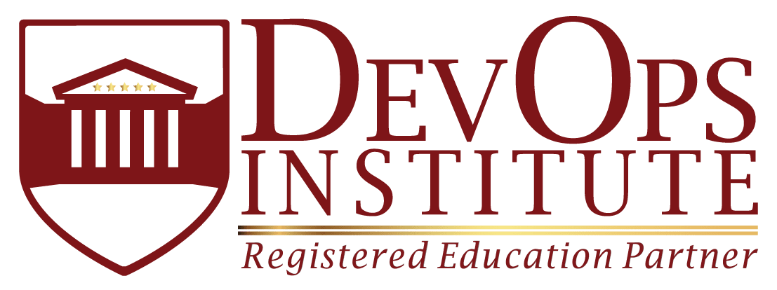 DevOps Institute Registered Education Partner Horizontal Logo white