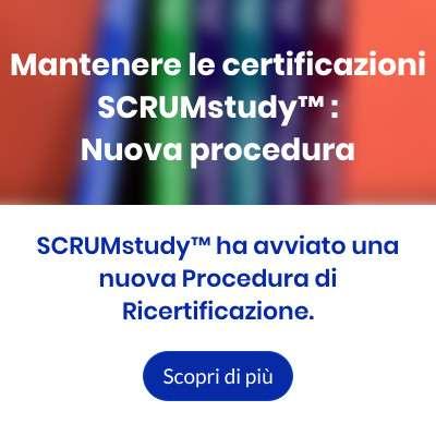 Mantenere le certificazioni SCRUMstudy - Nuova procedura
